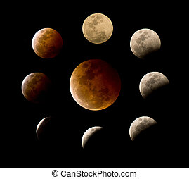Many phases of total lunar eclipse - Composite of many...
