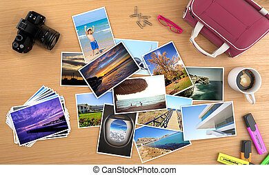 lots of photos spreaded on a desk with camera and other objetcs, images can be easily replaced with your own content. all pictures are made by me, some can be found on my portafolio.