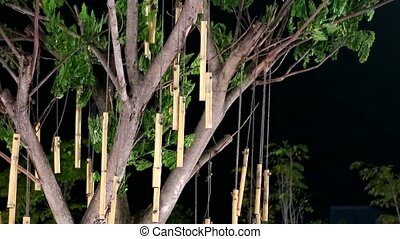 Many pieces of bamboo were decorated on the balcony at night1