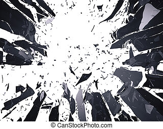 Many pieces of shattered glass isolated over white...