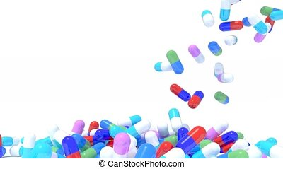 many pills fall on white background, 3d animation