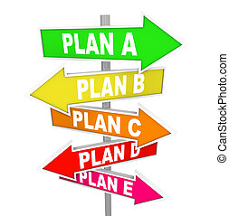 Many Plans Rethinking Strategy Plan A B C SIgns - The words ...