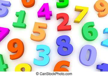 Many Plastic Numbers - many coloured bright plastic...