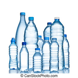 Many water bottles isolated on white background