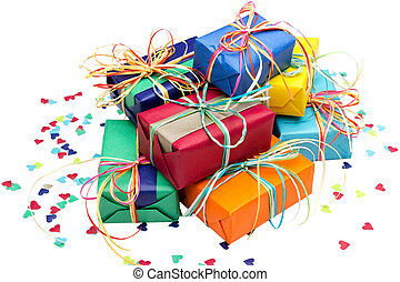 Many presents - Many colorful presents on a white background