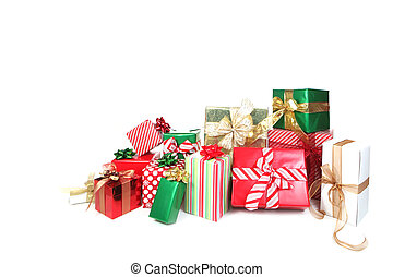 Many Pretty Presents Against a White Background