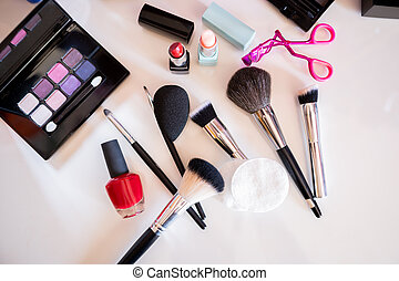 Many professional cosmetics and objects for make up.Cosmetic...