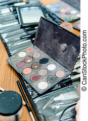Many professional cosmetics for a make up