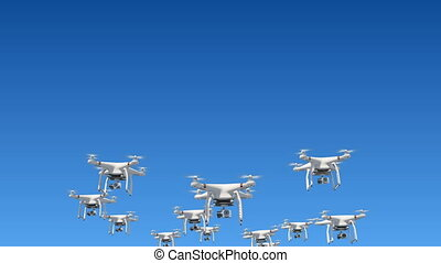 Many Quadcopters Flying in the Blue Sky and Filming with Cameras. Looped 3d Animation with Green Screen and Alpha Mask. Modern Electronics Concept. 4k UHD 3840x2160.