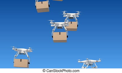 Many Quadcopters Rising Up in the Blue Sky and Delivering...