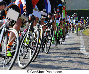 race bike and professional cyclists during the cycling race
