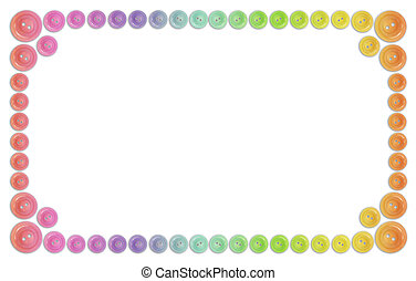 many rainbow buttons frame isolated on white collage