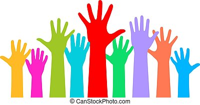 Many raised hands on white background