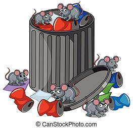 Many rats searching trashcan illustration