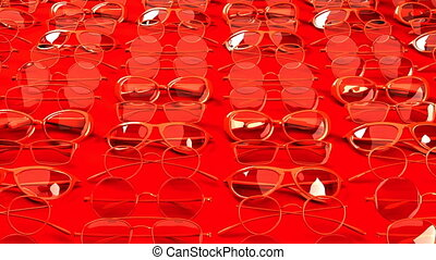 Many red glasses. Loop able 3DCG render animation.