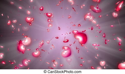 Many red hearts particle fly