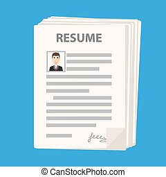 Many resume forms icon on blue background, cv application stack, stock vector illustration