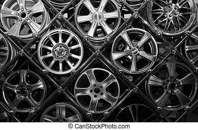 Many Rims - Many car drives in a store window