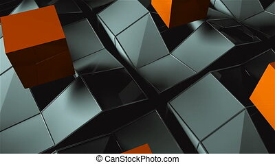 Many rising and turning cubes with shadows, computer generated modern abstract background, 3d render