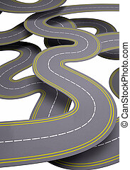 many roads, traffic concept