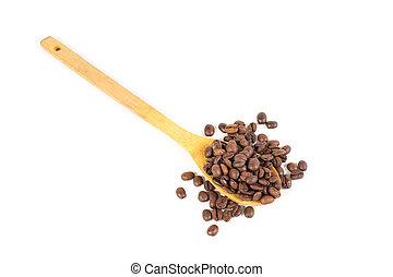 Many roasted coffee beans. White background. Isolated.