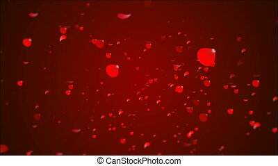 many rose petals on a festive red background