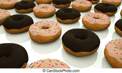 Many rows of glazed sweet donuts are of surface, modern sweet background, 3d render, computer generated