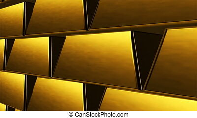 Many rows of golden bars as bank vault, computer generated abstract background, 3D render