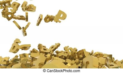 many ruble signs fall on white background, 3d animation
