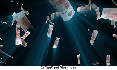 Many ruble bills fall from above, 3d rendering. Computer generated backdrop with effect of money rain. Business success