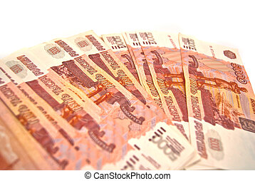 Many Russian banknotes on white