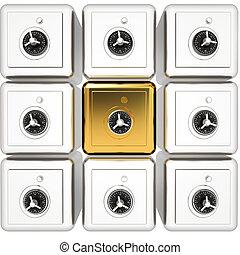 Many safes. 3d render