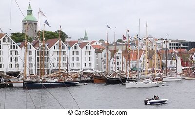 Many sailing boats stand on mooring in port of Stavanger in...