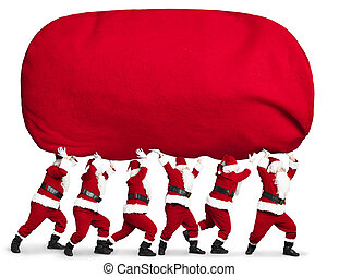 many Santa claus carrying big and heavy gift red sack