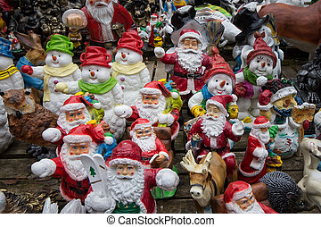 many santa claus figures, funny christmas background