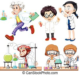 Many scientists doing experiment illustration