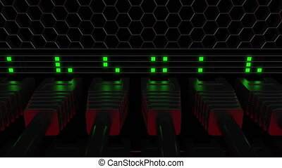 Many server connectors and flashing green LED lamps. Telecommunication, cloud technology or modern data center concepts. 4K seamless loop motion background