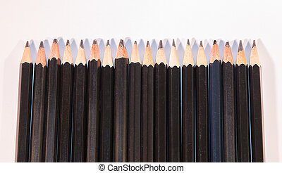 Sharp Black Pencils Isolated on White Background