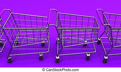 Many Shopping Carts On Purple Background