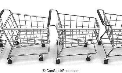 Many Shopping Carts On White Background