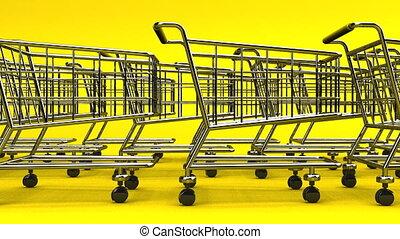 Many Shopping Carts On Yellow Background