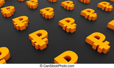 Many signs of ruble on black background, 3d Illustration, computer rendering