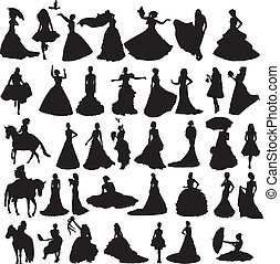 many silhouettes of brides in diffe