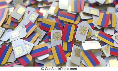 Many SIM cards with flag of Armenia. Armenian mobile telecommunications related 3D rendering