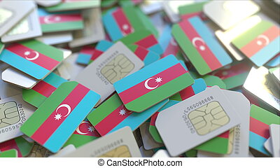 Many SIM cards with flag of Azerbaijan. Azerbaijani mobile telecommunications related 3D rendering