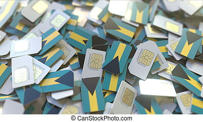 Many SIM cards with flag of Bahamas. Bahamian mobile telecommunications related 3D rendering