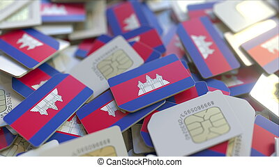 Many SIM cards with flag of Cambodia. Cambodian mobile telecommunications related 3D rendering