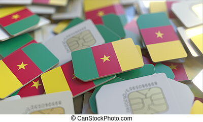 Many SIM cards with flag of Cameroon. Cameroonian mobile telecommunications related 3D rendering
