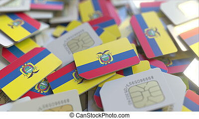 Many SIM cards with flag of Ecuador. Ecuadorian mobile telecommunications related 3D rendering
