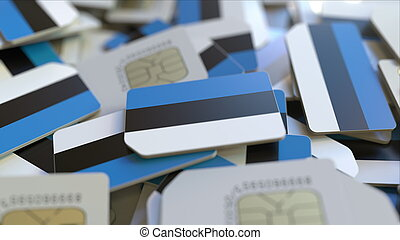 Many SIM cards with flag of Estonia. Estonian mobile telecommunications related 3D rendering